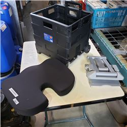 FOLDING CRATE, NECK PILLOW, AND MONITOR MOUNT