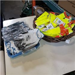 BASKET OF NEW REFLECTIVE BRACELETS AND TRAY OF WORK GLOVES