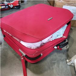 RED LUGGAGE W/ 1930S TO 50S WOMENS CLOTHES