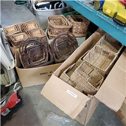 4 BOXES OF NEW WICKER BASKETS AND METAL FRAMED BASKETS
