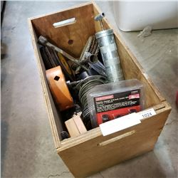 WOOD CRATE OF CIRCULAR SAW BLADES, WINCH, ETC