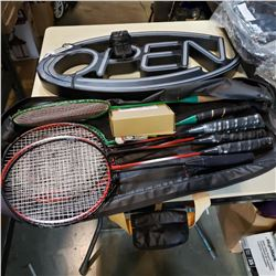 BADMINTON SET W/ 8 RACKETS AND OPEN SIGN - SOME DAMAGE, WORKS