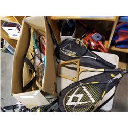 BOX OF TENNIS RACKETS