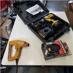 DEWALT CORDLESS DRILL W/ CHARGER AND ELECTRIC STAPLER AND CASY DRIVER RATCHER TOOL
