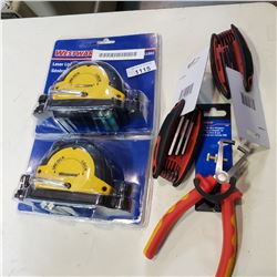 2 LASER LINE GENERATORS, 2 HEX KEY SETS, AND WIRE STRIPPERS
