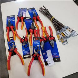 VARIOUS NEW WESTWARD PLIERS AND STRIPPERS WITH DEWALT DRILL BITS