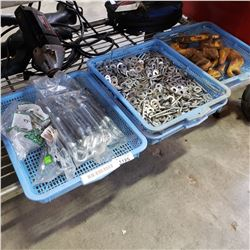 3 TRAYS OF STEEL HOOKS, TURNBUCKLES, AND WASHERS
