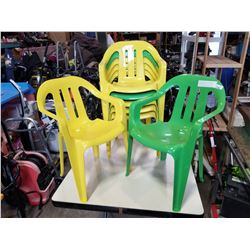 7 PLASTIC KIDS CHAIRS GREEN AND YELLOW