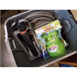 TOTE OF BUBBLE MACHIES, SPRINKLER, AND HOSE