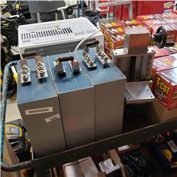 3 LARGE CAPACITORS AND PRESS