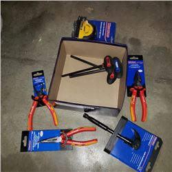 BOX OF NEW WESTWARD PLIERS, PRYBAR, LASER LINE GENERATOR, ETC