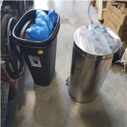 3 WASTE BINS - 1 W/ FOOT PEDAL AND TARP