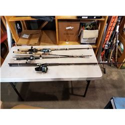 4 FISHING RODS AND REELS