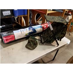 VENTURE QUICK DRAW SHADE W/ FRONT PORCH AND CAMO BACK PACK CHAIR