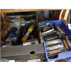 TRAY OF HARDWARE IN JARS, BIN OF REMMINGTON LOW VELOCITY POWER FASTENERS AND LASER