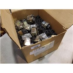 BOX OF 120 VOLT RELAYS AND BASES
