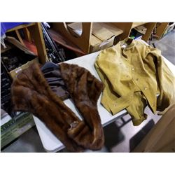 FUR SHAWL AND LEATHER WELDING JACKET