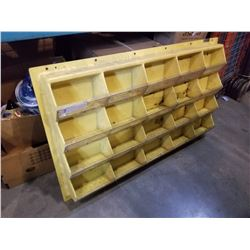YELLOW WALL MOUNT HARDWARE/PARTS ORGANIZER SHELF