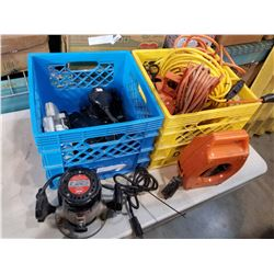 TOTE OF ASSORTED EXTENSION CORDS, TOTE W/ ROUTER, SANDER ETC