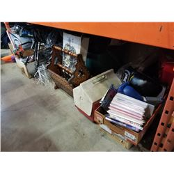 SHELF LOT OF ESTATE GOODS, DVDS, WIRE SHELVING, TOOLS, ETC