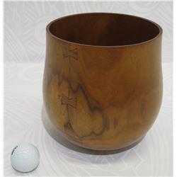 "Milo Wood Bowl, Artist Solomon Apio 9/02, Approx. 7"" Dia, 7.5"" Tall"