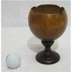 Polished Coconut Bowl w/ Pedestal Base, Approx. 4  Dia, 6  Tall