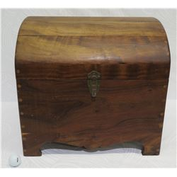 "Wooden Chest w/ Side Handles (missing front clasp component), Approx. 19.5"" W, 18"" H"