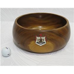 "Monkey Pod Wood Bowl w/ Enameled Hawaiian Crest, Approx. 11"" Dia, 5"" Tall"