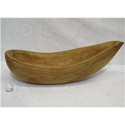 "Large Carved Ironwood Bowl w/ Carved Band Detail, Cook Island, Approx. 28.5"" Long, 9"" Tall (cracked"