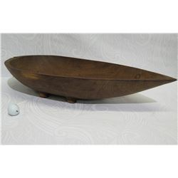 "Footed Long Wooden Bowl, Teardrop Shape, Approx. 29"" Long, 6"" Tall"
