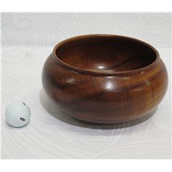 Curly Koa Wood Bowl, Artist Robert W. Butts, Approx. 7.5  Dia, 5  Tall, (has a crack on one side)