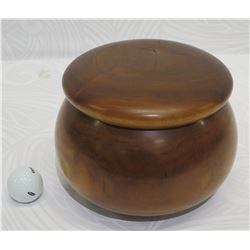 Lidded Milo Wood Bowl, Artist F. Clemente 'HI-08', Approx. 8  Dia, 6.5  Tall