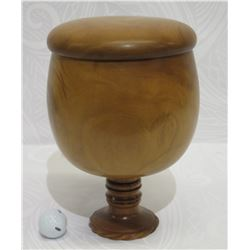 Lidded Milo Wood Bowl on Carved Pedestal Base, Artist Kimo Austin, Approx. 7.5  Dia (lid top), 11.5
