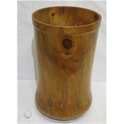 "Very Large, Tall Norfolk Pine Wood Umbrella/Cane Stand, by Robert W. Butts, Approx. 13.5"" Dia, 23"" H"