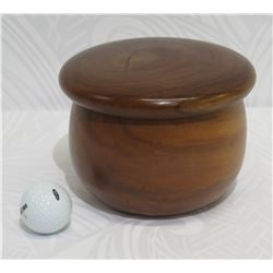 "Lidded Wooden Bowl from Kamari Woods, Approx. 7.5"" Dia (bottom), 4.5"" Tall"