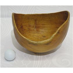 "Freeform Wooden Bowl, Artist F. Clemente 'Bombay' Approx. 8.5"" x 7"" x 7"" Tall"