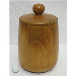 "Lidded Mango Wood Vessel, Artist-Signed 2008, Approx. 8"" Dia, 14.5"" Tall"