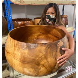 X-Large Curly Koa Wood Bowl w/ Patch Details, Artist Robert W. Butts, Approx. 23  Dia, 15  Tall
