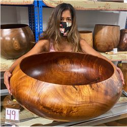 "X-Large Curly Koa Wood Bowl w/ Patch Detail, Artist Robert W. Butts, Approx. 28"" Dia, 11"" Tall"