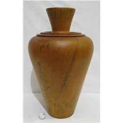 "Very Large Tall Norfolk Pine Wood Vessel w/Lid, Tapered, Artist-Signed 2011, Approx. 26"" H, 14"" Dia"