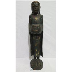 "Very Tall Carved Wooden Figure, Painted w/ Gilt Accents, 41"" Tall, Base Dia Approx. 9"""