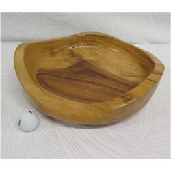 "Wooden Bowl with Freeform Edge, ""Raintree Natural Edge by Bob's Woodart"", Approx. 13.5"" Dia, 4.5"" Ta"