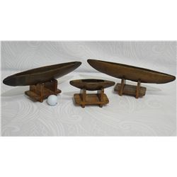 Qty 3 Vintage Canoes with Display Stands, Various Sizes