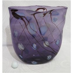Glass Bowl, Lavender with Brown Linear Accents