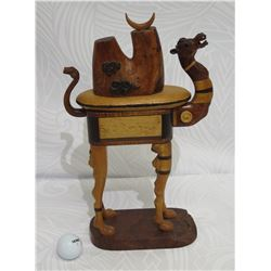 "Carved Wooden Camel on Stand w/ Drawer, Artist-Signed, ""Camel Count"", Approx. 7"" W, 15"" Tall"
