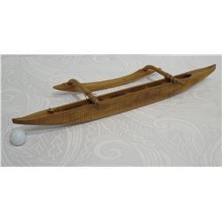 "Carved Koa Wood Miniature Outrigger Canoe, Approx. 30"" Long"