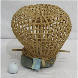 "Woven Fish Trap w/ Rock Base, Approx. 10"" Tall"