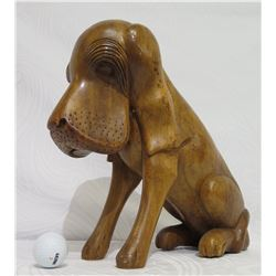 Carved Solid Wood Dog, Approx. 14  Tall