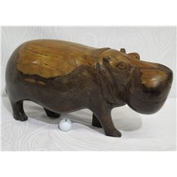 Carved Solid Wood Hippopotamus, Heavy Wood, Approx. 27  Long, 12  Tall