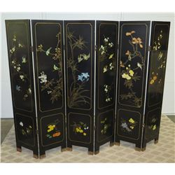 6-Panel Black Lacquered Screen with Semi-Precious  Jade Stone Overlays on Reverse, Painted  Bird